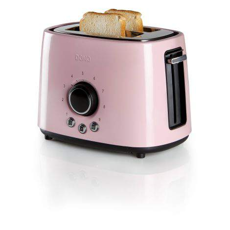Toaster grille-pain acier rose - 2 fentes -  1000W - DOMO DO952T