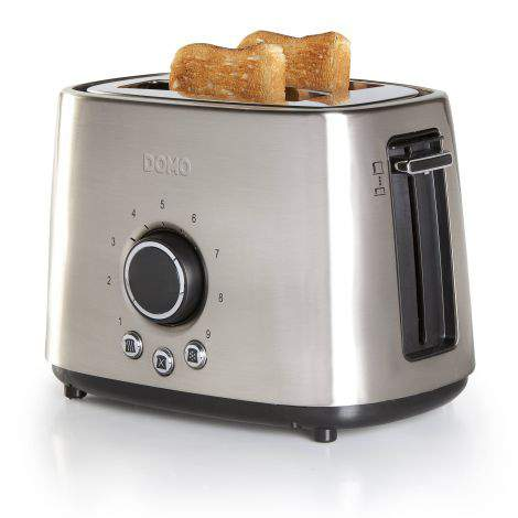 Toaster grille-pain inox brossé - 2 fentes - 1000W - DOMO DO956T