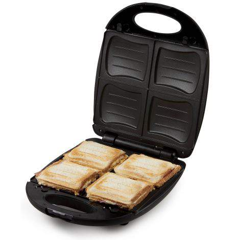 appareil croque monsieur 4 parts 1200 w noir domo do9123c festihome. Black Bedroom Furniture Sets. Home Design Ideas