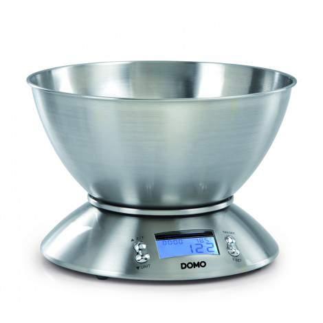 Balance de cuisine inox brossé - Capacité max. 5kg - Bol amovible 2L - DOMO DO9086W