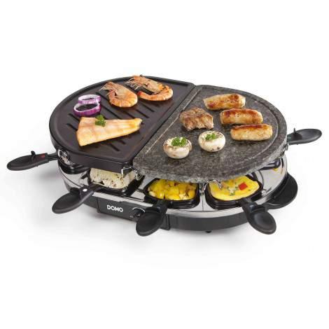Pierre à cuire - raclette - gril ovale - 8 personnes - 1200W - DOMO DO9059G