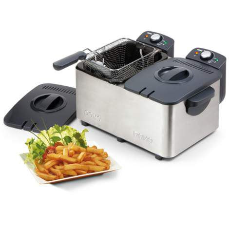 Friteuse - double cuve inox - 2 x 3L - 4000W - DOMO DO453FR